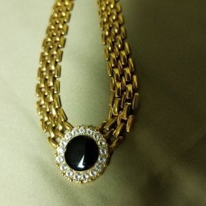Gold tone Necklace with Rhinestones